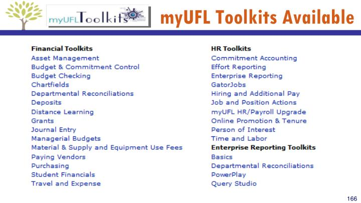 myUFL Toolkits Available