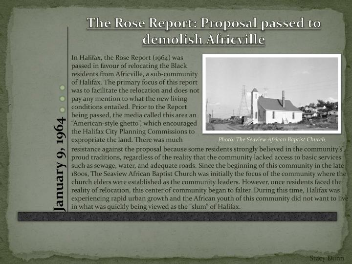 The Rose Report: Proposal passed to demolish Africville