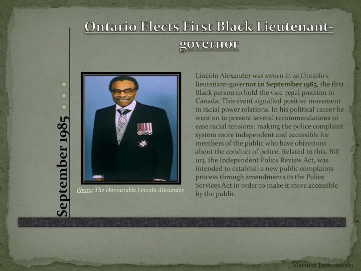 Ontario Elects First Black Lieutenant-governor