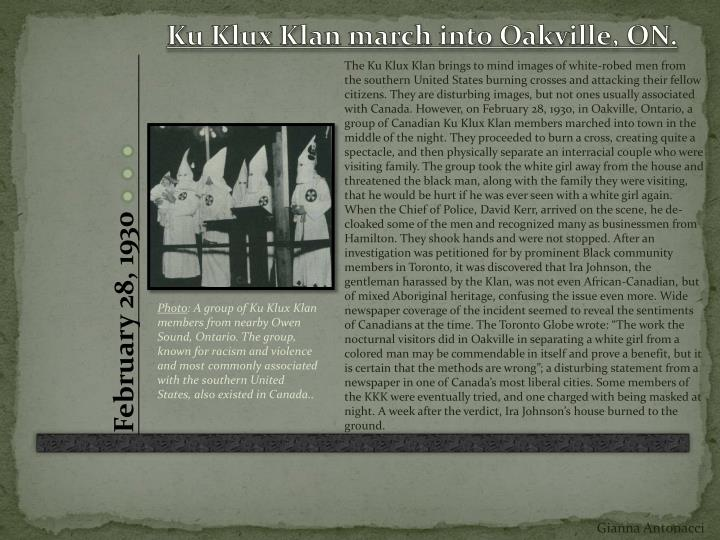 Ku Klux Klan march into Oakville, ON.
