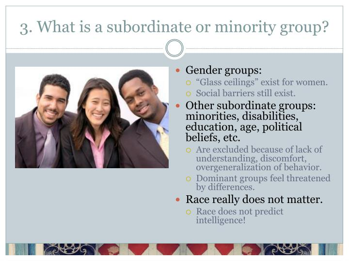 3. What is a subordinate or minority group?