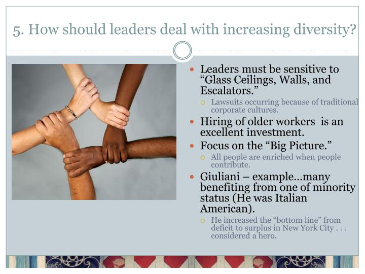 5. How should leaders deal with increasing diversity?