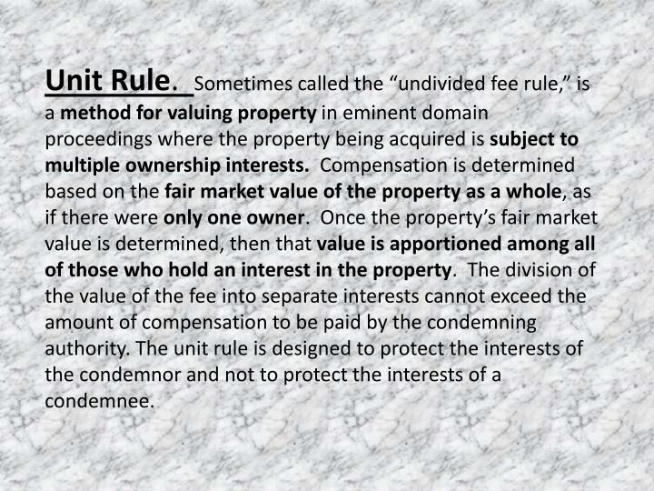 Unit Rule