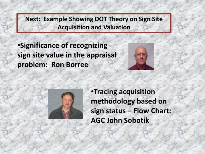 Next:  Example Showing DOT Theory on Sign Site Acquisition and Valuation