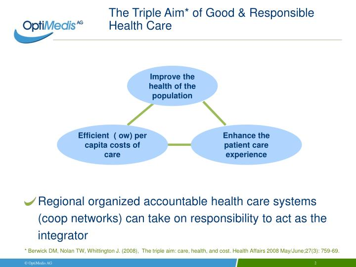 The triple aim of good responsible health care