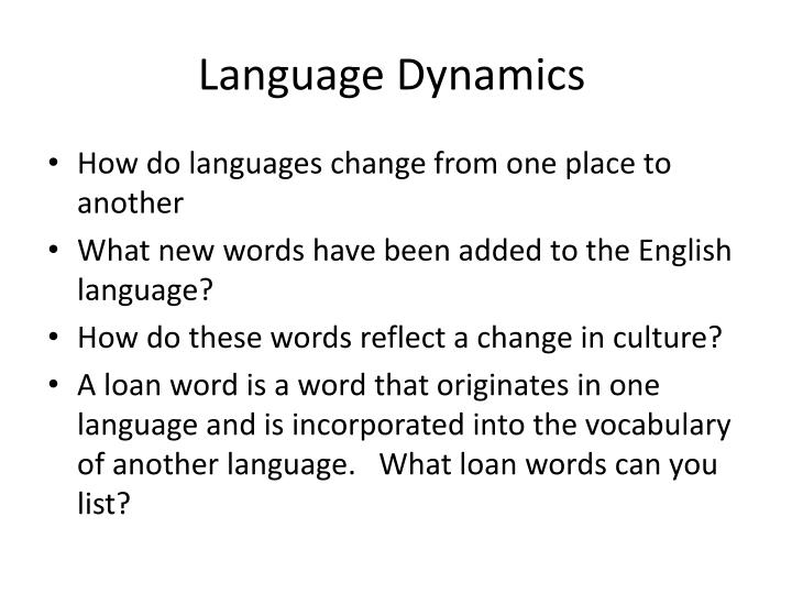 Language Dynamics