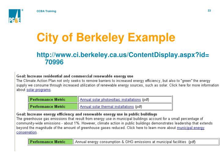 City of Berkeley Example