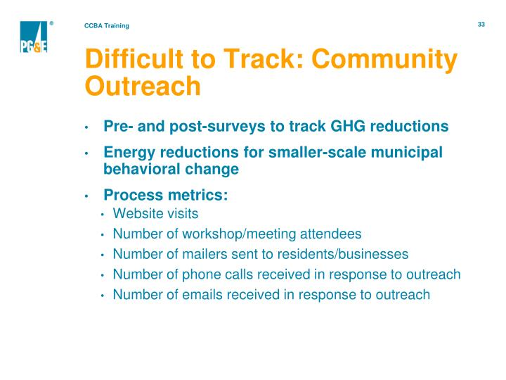 Difficult to Track: Community Outreach