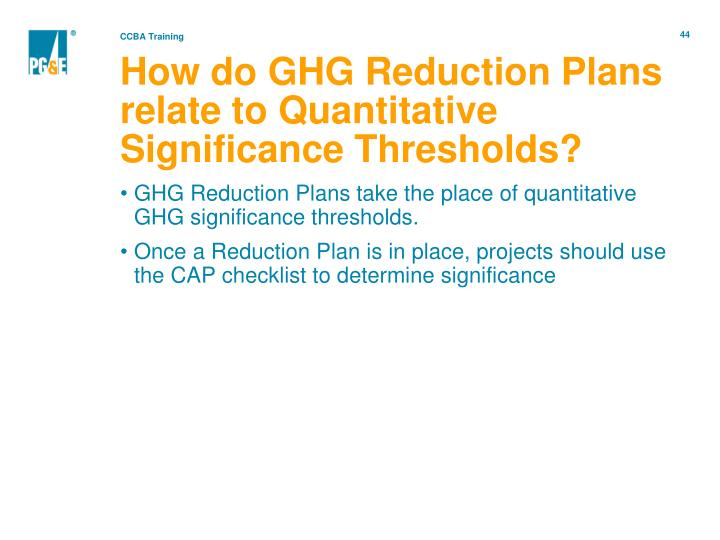 How do GHG Reduction Plans relate to Quantitative Significance Thresholds?