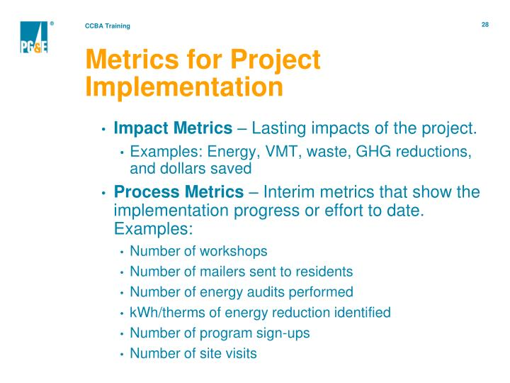 Metrics for Project Implementation