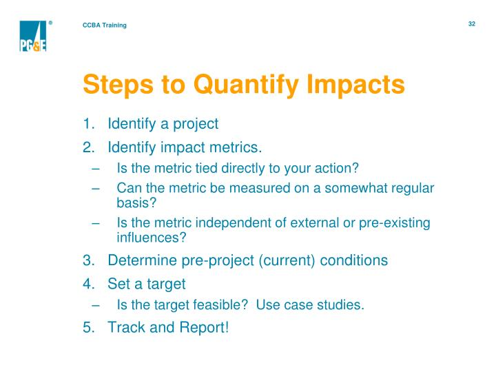 Steps to Quantify Impacts