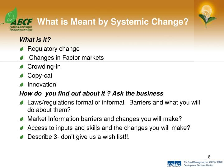 What is Meant by Systemic Change?