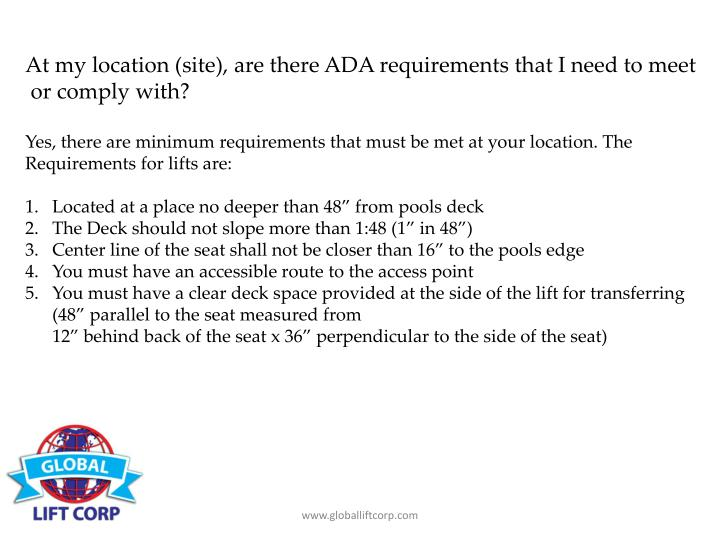 At my location (site), are there ADA requirements that I need to meet