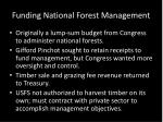 funding national forest management