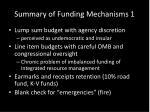 summary of funding mechanisms 1