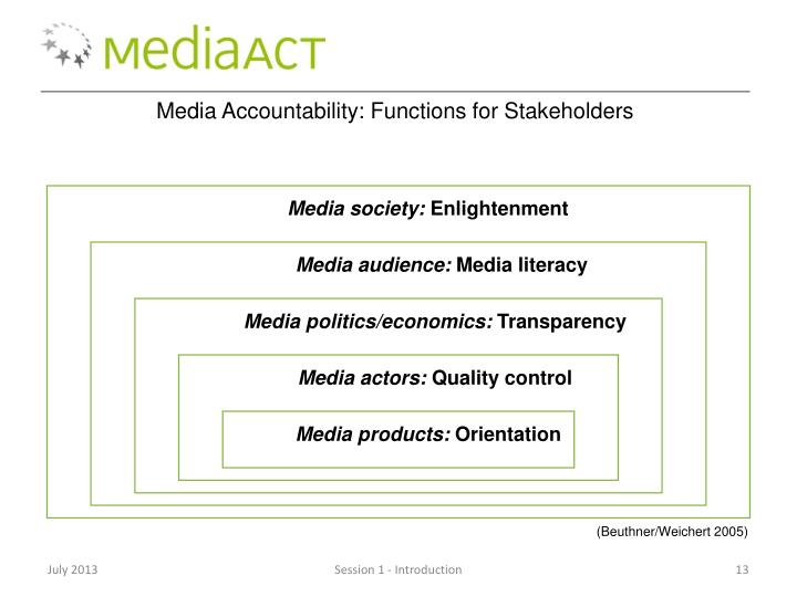 Media Accountability: Functions for Stakeholders