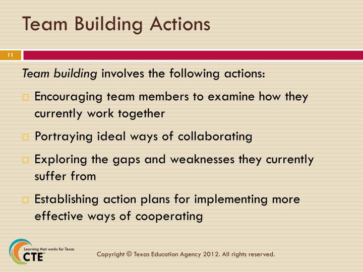 Team Building Actions