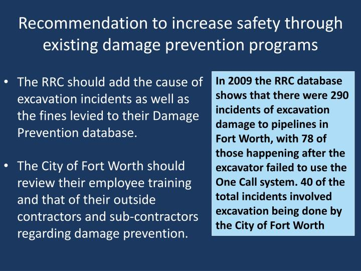 Recommendation to increase safety through existing damage prevention programs