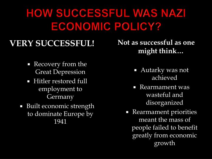 HOW SUCCESSFUL WAS NAZI ECONOMIC POLICY?