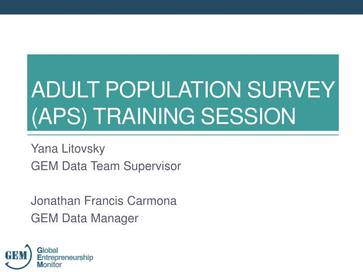 Adult population survey aps training session