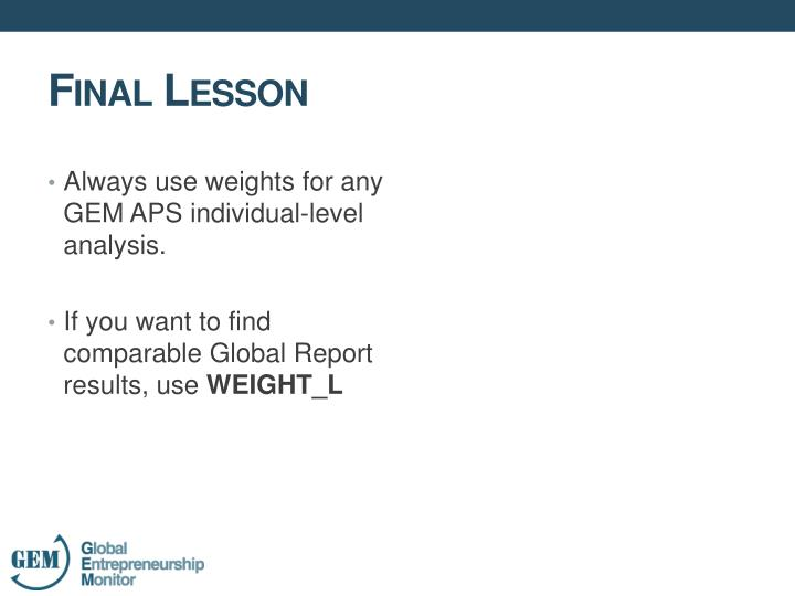 Always use weights for any GEM APS individual-level analysis.