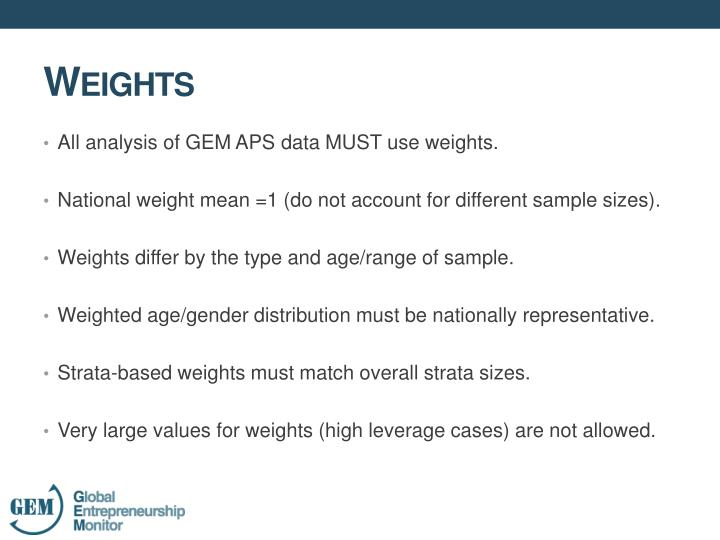 All analysis of GEM APS data MUST use
