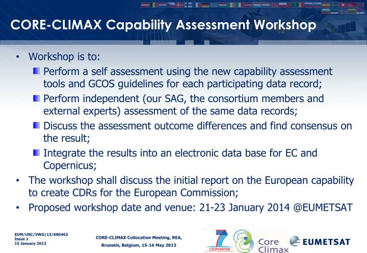 CORE-CLIMAX Capability Assessment Workshop