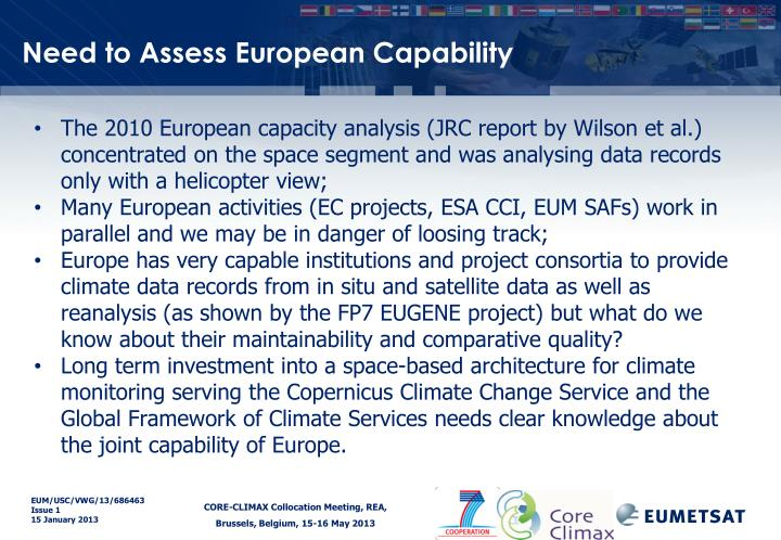 Need to Assess European Capability
