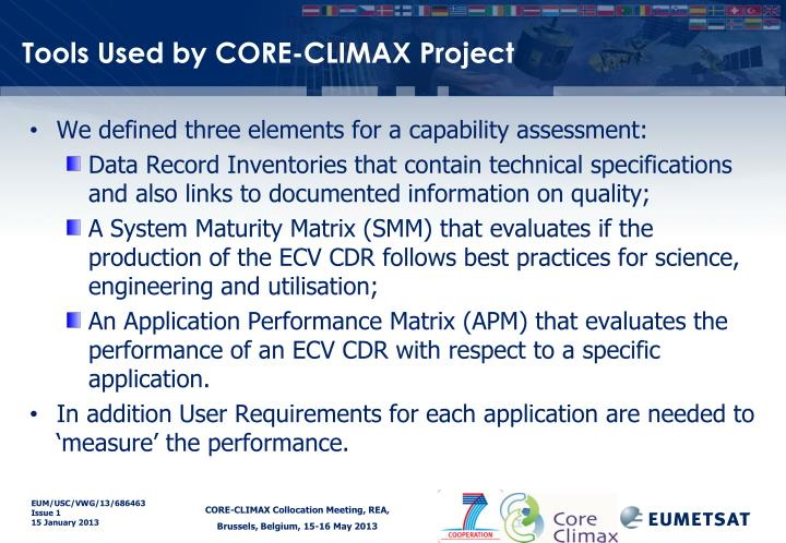 Tools Used by CORE-CLIMAX Project