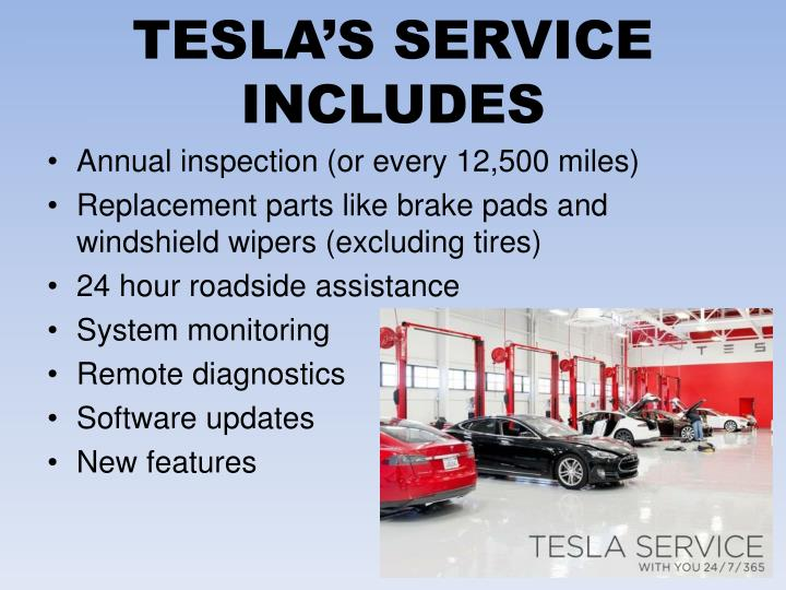 TESLA'S SERVICE INCLUDES