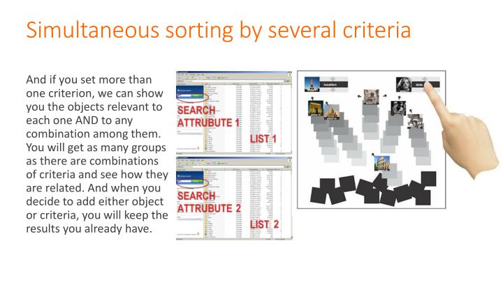 Simultaneous sorting by several criteria