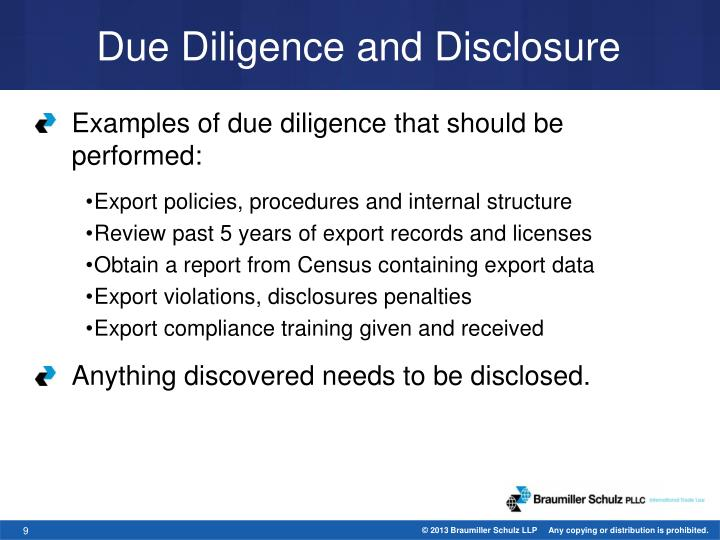 Due Diligence and Disclosure