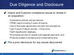 due diligence and disclosure1