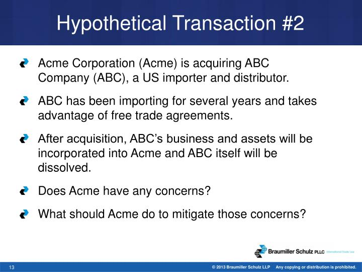 Hypothetical Transaction #2