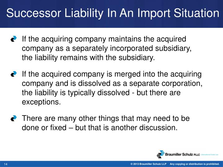 Successor Liability In An Import Situation