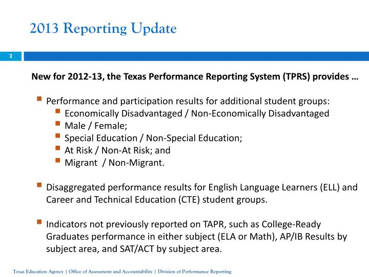 2013 Reporting Update