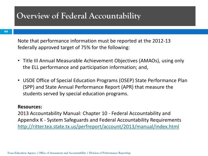 Overview of Federal Accountability