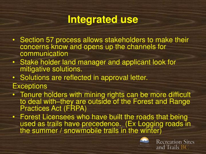 Integrated use