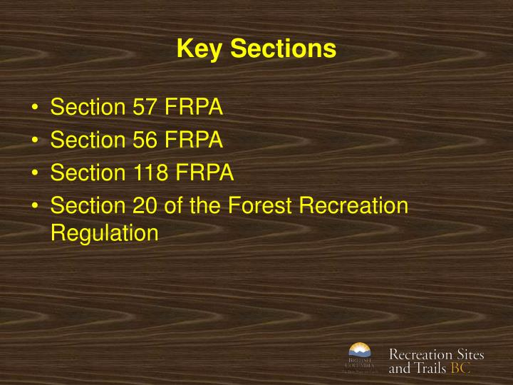 Key Sections