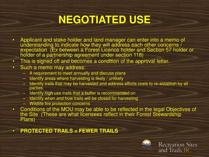 NEGOTIATED USE
