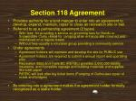 section 118 agreement