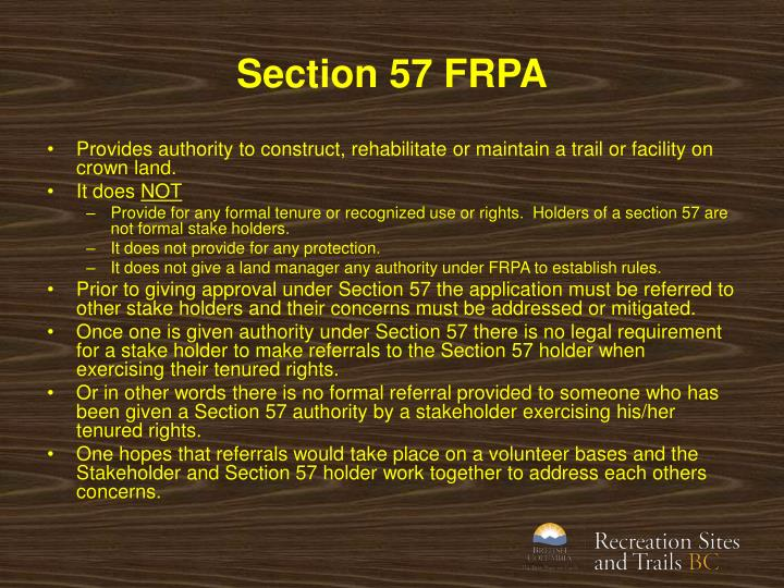 Section 57 FRPA