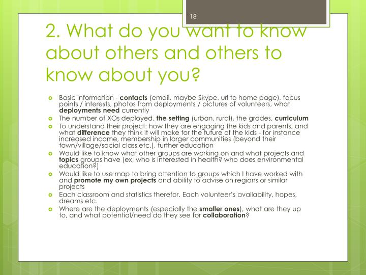 2. What do you want to know about others and others to know about you