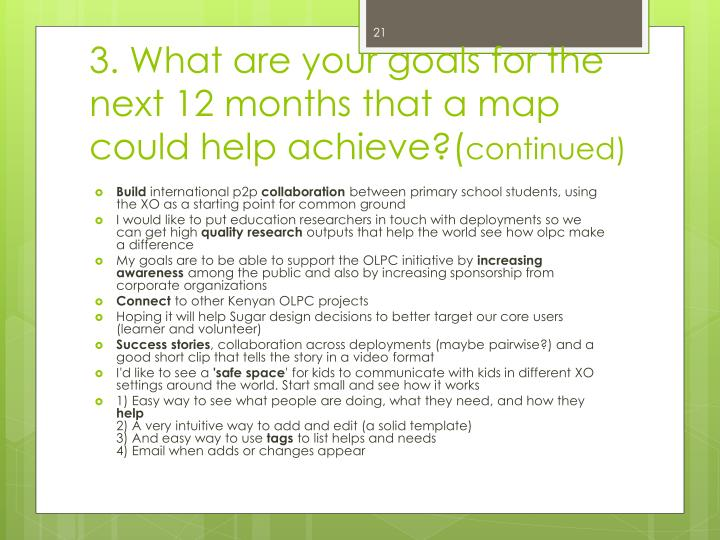 3. What are your goals for the next 12 months that a map could help