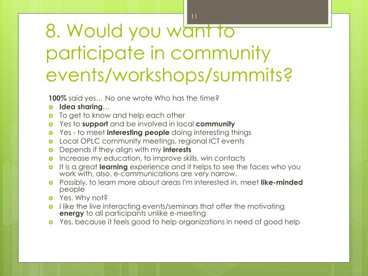 8. Would you want to participate in community events/workshops/summits