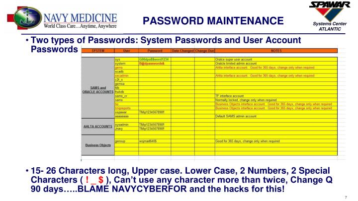 PASSWORD MAINTENANCE