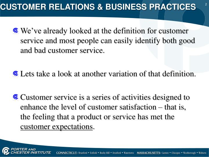 CUSTOMER RELATIONS & BUSINESS PRACTICES
