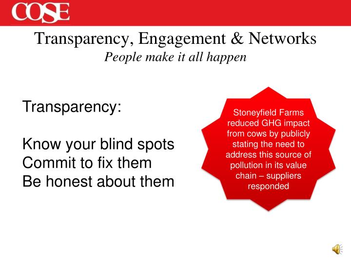 Transparency, Engagement & Networks