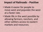 impact of railroads positive