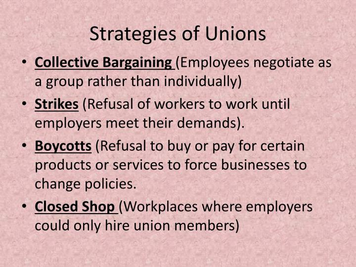 Strategies of Unions